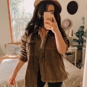 Vintage brown corduroy oversized shirt jacket